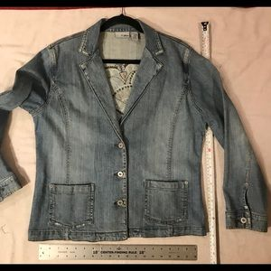 Jacket, Denim, Chico's Button Cuff Slight Stretch